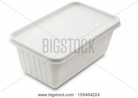 a white plastic food container isolated on white