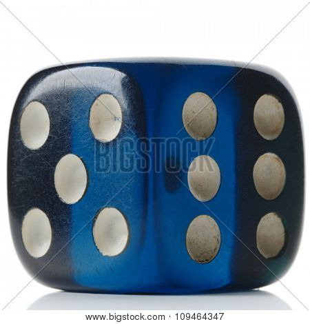 a transparent blue dice on white