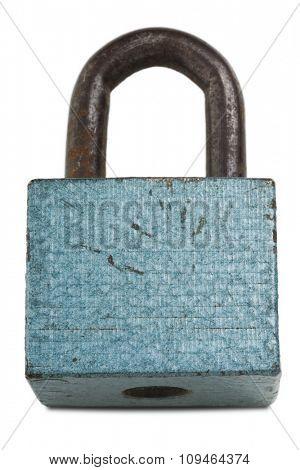 turquoise lock on white