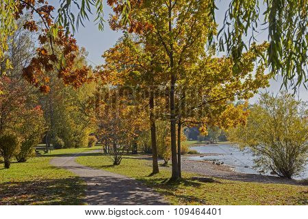 Lakeside Promenade Lake Tegernsee, Beautiful Autumn Landscape