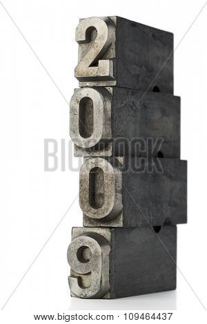 old lead letters forming 2009 on white
