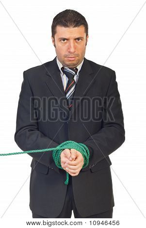 Nervous Businessman With Hands Tied