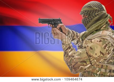 Male In Muslim Keffiyeh With Gun In Hand And National Flag On Background - Armenia