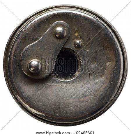 a metal peephole on white