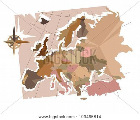 The abstraction of Europe with capitals, map of Europe made in old style, brown graphics in a retro