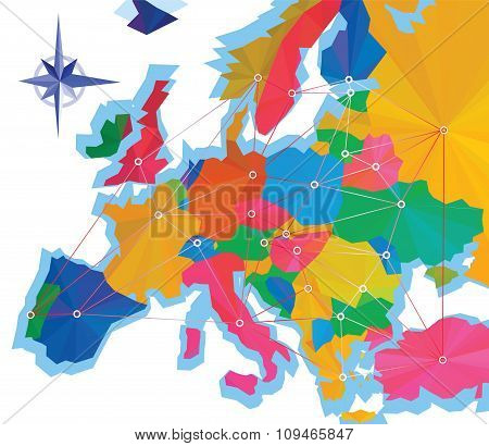 Abstraction info-graphics of Europe with capitals, Europe map designed in the style of low poly