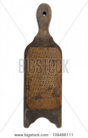 an old rusty grater on white - with clipping path