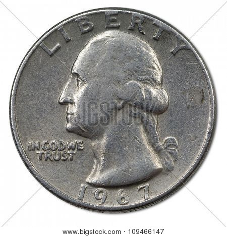 back side of american 25 cents coin