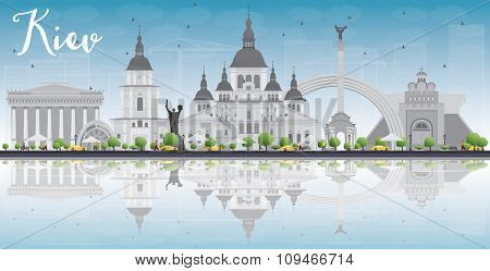 Kiev skyline with grey landmarks, blue sky and reflections. Business travel and tourism concept with place for text. Image for presentation, banner, placard and web site.