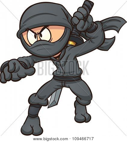 Cartoon ninja drawing a katana. Vector clip art illustration with simple gradients. All in a single layer.