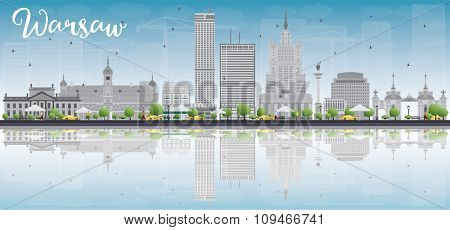 Warsaw skyline with grey buildings, blue sky and place for text. Business travel and tourism concept with modern buildings. Image for presentation, banner, placard and web site.