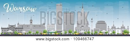 Warsaw skyline with grey buildings and blue sky. Business travel and tourism concept with modern buildings. Image for presentation, banner, placard and web site.
