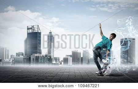 Teenager boy on skate