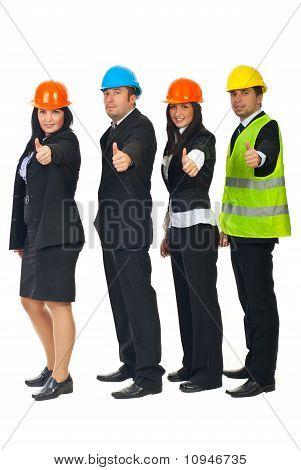 Engineers Team Giving Thumbs