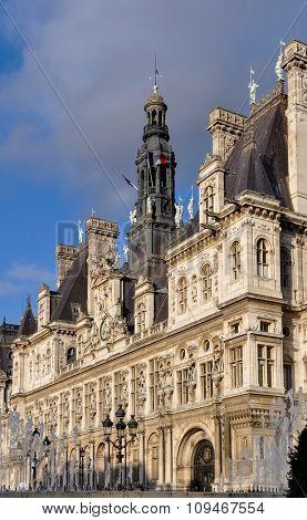 The Hotel de Ville (city hall) in Paris, France