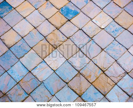 Colourful slate roof texture