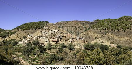 Panoramic view of berber village at the Atlas mountains, Morocco