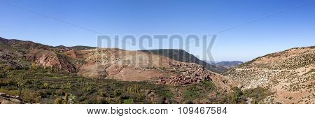 Panoramic view of Atlas Mountain range with berber village