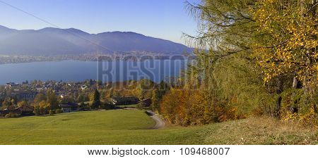Hillside Lookout Point With Panoramic View To Lake Tegernsee, Bavaria