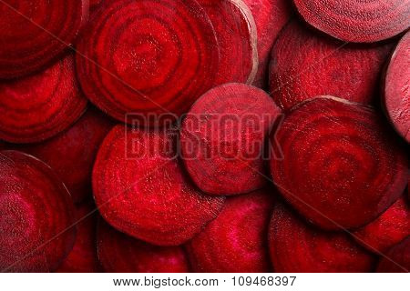 Slices of young beets close up