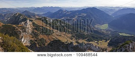 Mountain Range And Valleys - View From Wendelstein Mountain