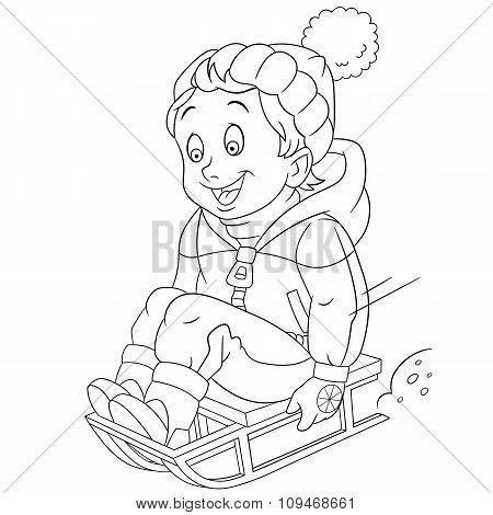 Happy Cartoon Boy On A Sleigh