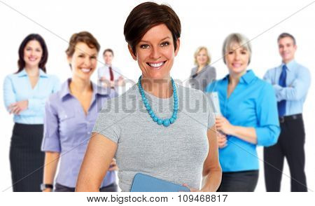 Beautiful mature business woman over people group background.