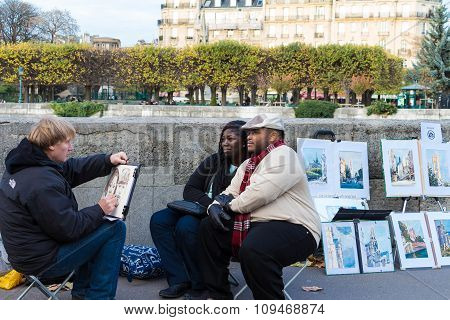 Couple Of Tourists Posing For Street Painter, Paris, France.
