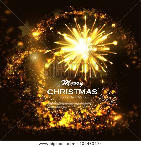 Glittering bokeh with magic stars dust. Blurred Christmas Lights for Xmas Holiday Design. Festive Firework Salute. Ideal for xmas card or elegant holiday party invitation. Abstract Winter background.