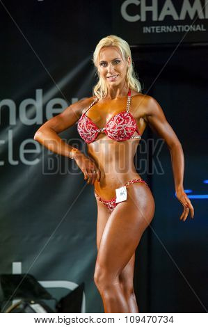 MOSCOW, RUSSIA - NOVEMBER 21, 2015: Unidentified athlete participates in Bodybuilding Champions Cup during SN Pro Expo Forum 2015 on November 21, 2015 in Moscow, Russia