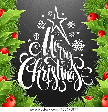 Christmas decoration on chalk board. Vector illustration