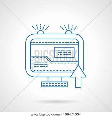 Internet search flat blue line vector icon