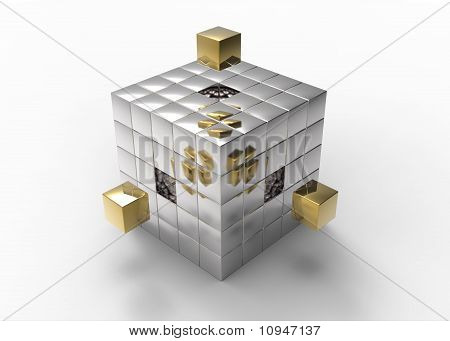 Golden Blocks Filling Holes To Build A Big Cube
