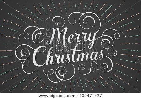 White lettering Merry Christmas for greeting card on chalk board background. Vector illustration.