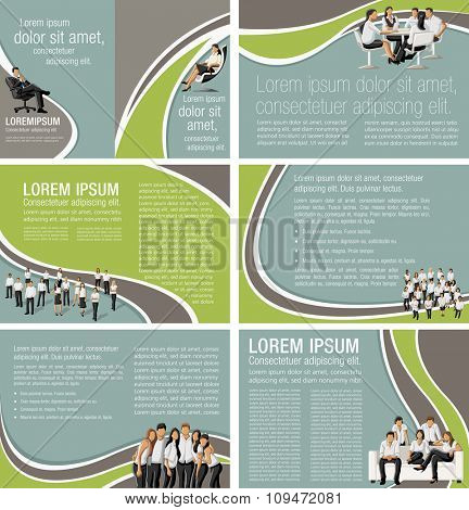 Green and brown template for advertising brochure with business people