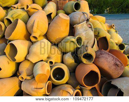 Lot Of Broken Decorative Clay Jars, Turkey