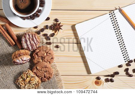 Coffee, Cookies And Notepad