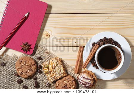 Background With Coffee, Cookies And Notepad