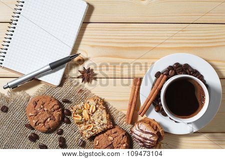 Notebook, Coffee, Cookie, Pastry, Breakfast, Espresso, Background, Paper, Education, Notepad, Top Vi