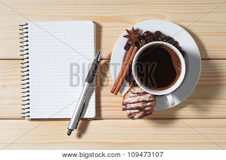 Coffee With Cookies And Notepad