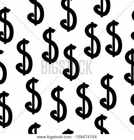 Dollar Seamless Pattern On White.