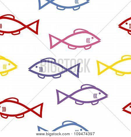 Fish Seamless Pattern On White.