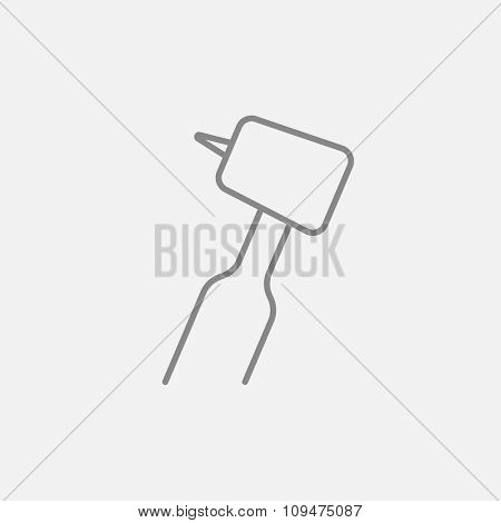 Dental drill line icon for web, mobile and infographics. Vector dark grey icon isolated on light grey background.