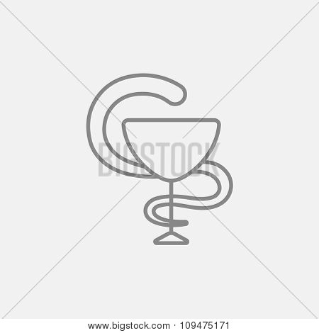 A snake and a bowl line icon for web, mobile and infographics. Vector dark grey icon isolated on light grey background.