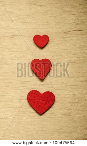 Valentine's Day Background. Red Decorative Hearts