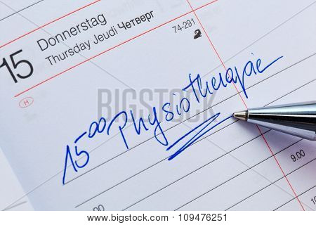 an appointment is entered on a calendar: physiotherapy