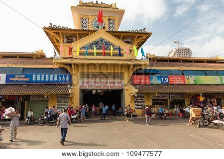 HO CHI MINH VILLE, VIETNAM, FEBRUARY 26, 2015 : Front entrance the old traditional market of Cho Binh Tay in the Chinatown district of Ho Chi Minh Ville, (Saigon), Vietnam.
