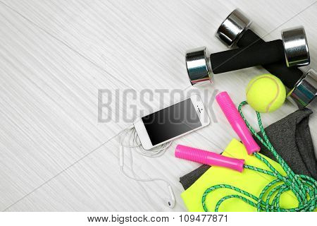 Set for sports on light background