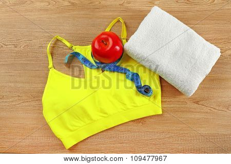 Set for sports on wooden table background