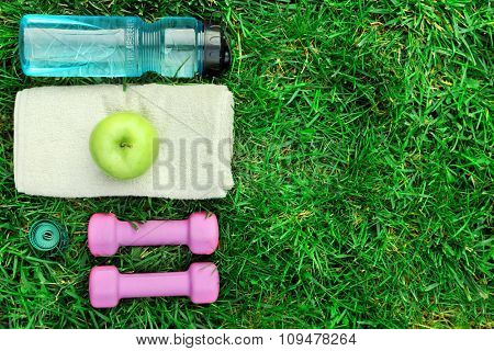 sports equipment on green grass background
